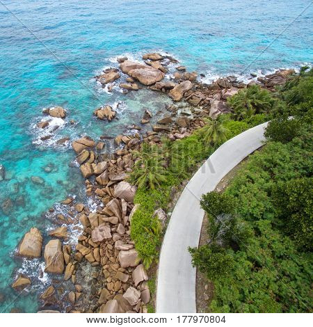 Seychelles La digue island aerial landscape of coastline and a road seascape. Top view
