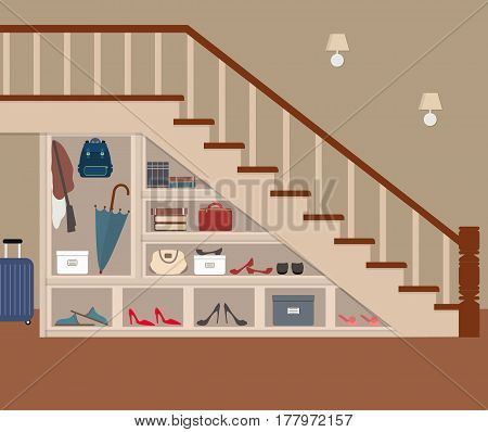 Entrance hall under the stairs. On the shelves are bags, shoes, umbrella, books, boxes and other objects. Vector flat illustration.