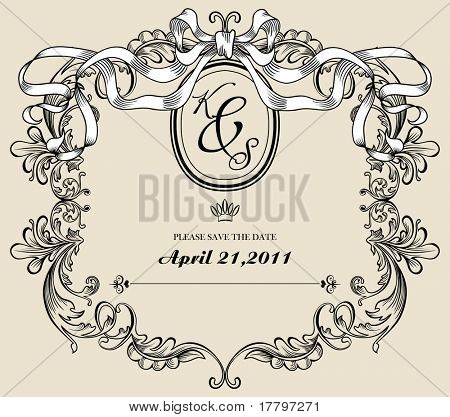 Vintage wedding card, save the date