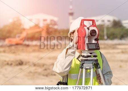 Construction engineer checking construction site for new Infrastructure construction project. photo concept for engineering work.