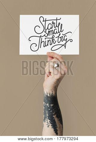 Hand Show Motivation Phrase Paper