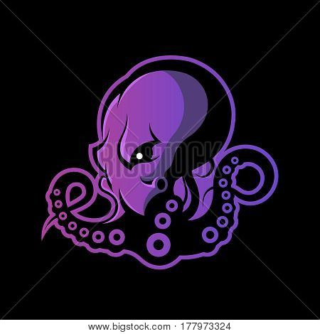 Furious octopus sport vector logo concept isolated on dark background. Modern professional team badge design. Premium quality wild cephalopod mollusk t-shirt tee print illustration.