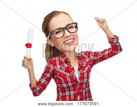 university and education concept - laughing woman in eyeglasses with diploma, funny character with big head