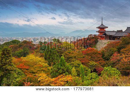 Kiyomizu-Dera Buddhist temple in Kyoto during autumn season, Japan