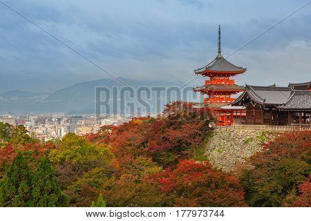 Pagoda of the Kiyomizu-Dera Buddhist temple in Kyoto, Japan