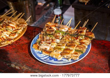 Japanese street food in Kyoto.
