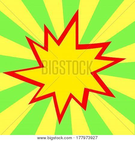 Green And Yellow Comic Cartoon Speech Bubble Illustration. Green Yellow Background