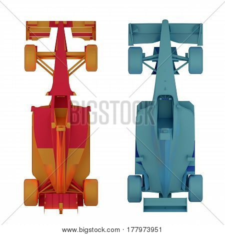 formula 1 race car top view isolated on white 3d rendering
