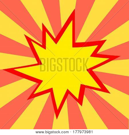 Red And Yellow Comic Cartoon Speech Bubble Illustration. Yellow Red Background
