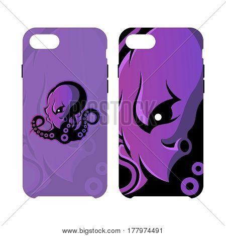 Furious octopus sport vector logo concept smart phone case isolated on white background. Modern team badge design. Premium quality wild cephalopod mollusk artwork cell phone cover illustration.