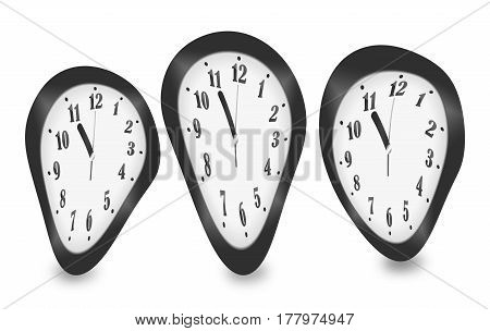 Distorted Clocks For The Concept Of Time Warp Isolated On White Background
