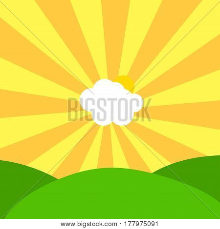 Abstract Illustration Of Cloud And Sun In Centre Of Yellow And Orange Sunbeams On Sky Over Green Hil