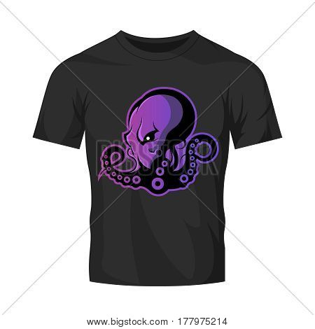 Furious octopus sport vector logo concept isolated on black t-shirt mockup. Modern professional team badge design. Premium quality wild cephalopod mollusk t-shirt tee print illustration.