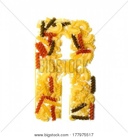 Pile of spaghetti forming a letter R, all different shapes, colors and varieties