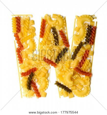 Pile of spaghetti forming a letter W, all different shapes, colors and varieties