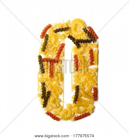 Pile of spaghetti forming a letter O, all different shapes, colors and varieties