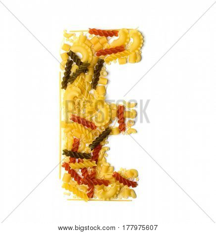 Pile of spaghetti forming a letter E, all different shapes, colors and varieties