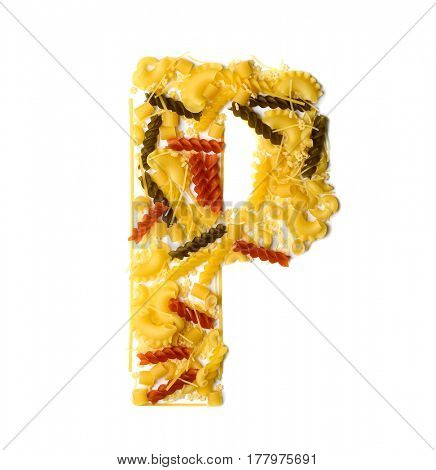 Pile of spaghetti forming a letter P, all different shapes, colors and varieties