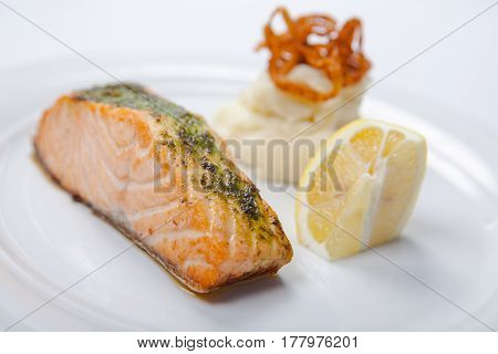 Salmon Stake With Mashed Potatoes