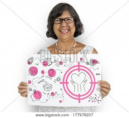 Woman holding placard with icon charity graphic