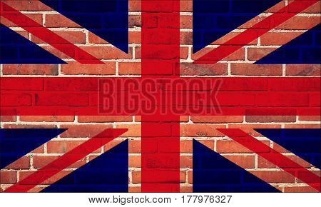 The British flag on a brick wall background White red blue colors