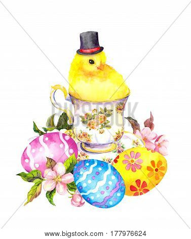 Easter eggs and cute small chicken animal with tall hat in tea cup. Vintage teatime watercolor