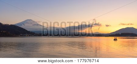 panorama view of natural landscape of Mount Fuji at Kawaguchiko during sunset in autumn season at Japan. Mount Fuji is a Special Place of Scenic Beauty and one of Japan's Historic Sites.