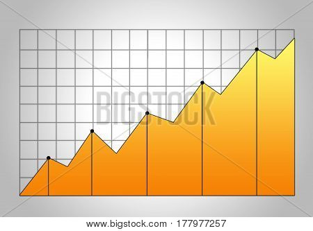 Bright Yellow Stock Graph Growth Chart On Grid. Market Analysis