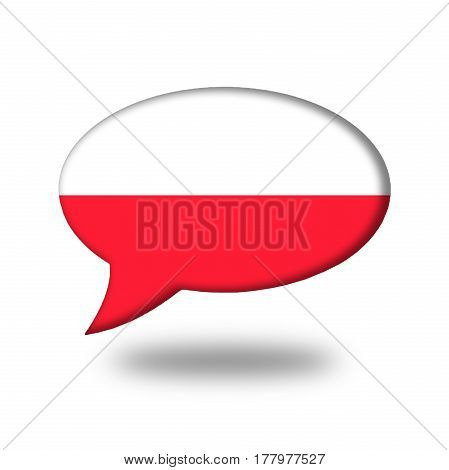 Polish Flag In A Speech Bubble Isolated On White