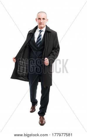 Full Body Of Middle Age Business Man Posing Wearing Raincoat