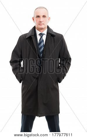 Portrait Of Middle Age Business Man Posing In Raincoat