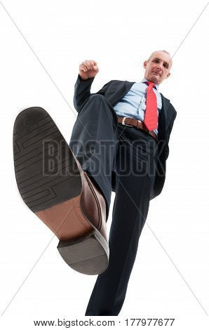 Low Angle Of Business Man Stepping On Camera