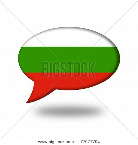 Bulgarian Flag In A Speech Bubble Isolated On White
