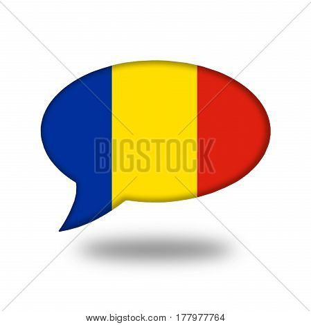 Romanian Flag In A Speech Bubble Isolated On White