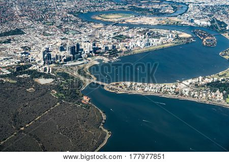 Aerial of Perth City, Western Australia, including South Perth, Kings Park, and the Swan River.