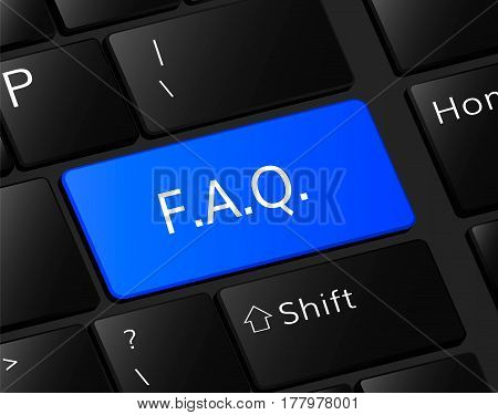 F.A.Q. button on keyboard. F.A.Q. concept . Question illustration