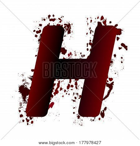 Dirty Bloody Letter H With Spots. Grunge Alphabet. Scary Letters For Halloween