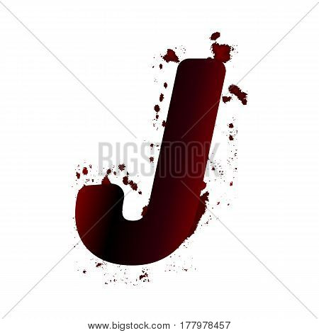 Dirty Bloody Letter J With Spots. Grunge Alphabet. Scary Letters For Halloween