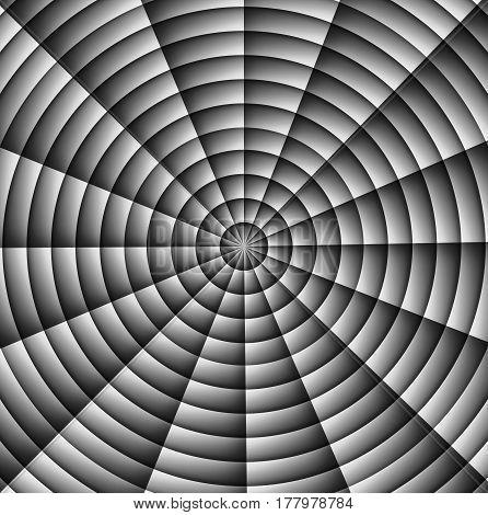 Spider web, hypnotic spiral, military sign crosshair. Grey
