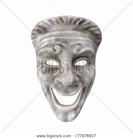 Theatre Comedy Mask White Marble on white background. 3D illustration