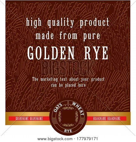 Food or drink vector label template for vodka bakery etc with abstract golden ripe rye ears background. Decorative vector element for your design.