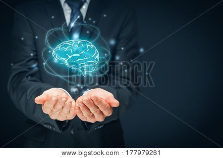 Brain representing artificial intelligence (AI), machine deep learning, creativity, headhunter, innovation brainstorming and intellectual property rights.
