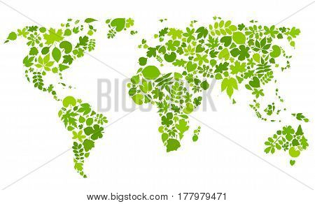 Continents of green leaves. World map made of floral elements. Vector illustration. Eco concept. Earth from different leaves.