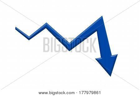 Blue 3D Arrow Graph Going Down Market Falling Down