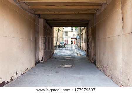 ST. PETERSBURG RUSSIA - JULY 29 2016: The old courtyard in summer day in St. Petersburg Russia