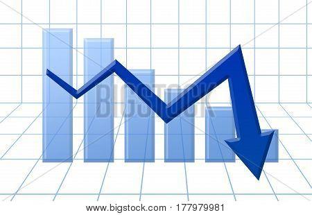 Blue 3D Arrow Graph Going Down And Blue Diagram. Market Falling Down