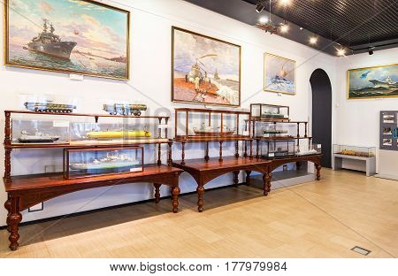 ST.PETERSBURG RUSSIA - JULY 29 2016: Interior of one of the halls of the Navy Museum in St. Petersburg Russia