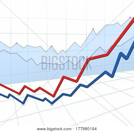 3D Illustration. Up And Down - Red And Blue Arrows, Grid, Graph Over White Background