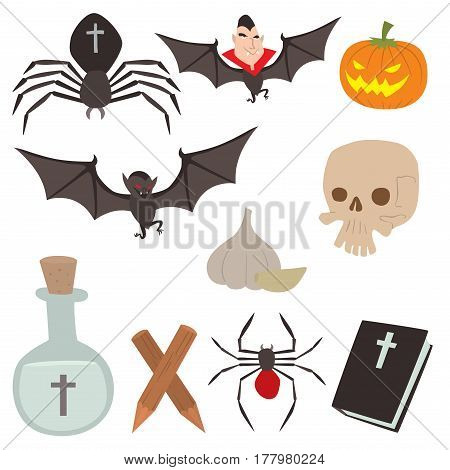 Cartoon dracula vector coffin symbols vampire icons character funny man comic halloween and magic spell witchcraft ghost night devil tale illustration. Horror holiday spooky cute elements.
