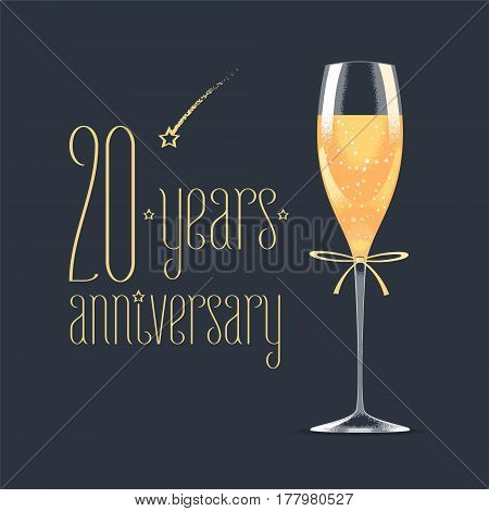 20 years anniversary vector icon logo. Graphic design element with golden lettering and glass of champagne for 20th anniversary greeting card or banner